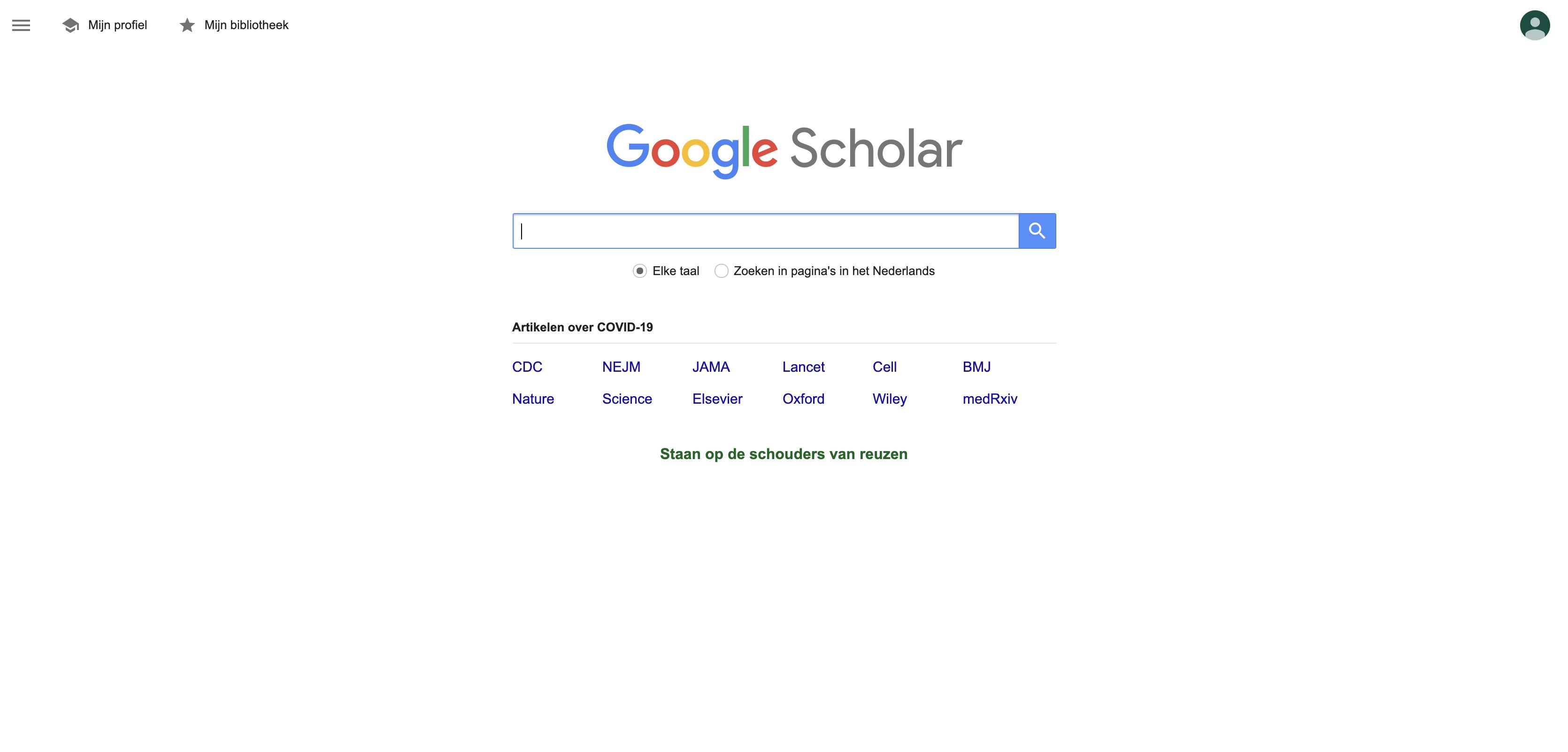 Het gebruik van Google Scholar voor collageen informatie